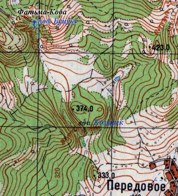 Карта прилегающей местности к источнику Бунуку-Чокрак