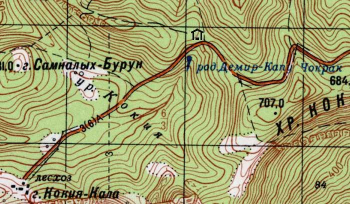 Фрагмент карты урочища Кокия