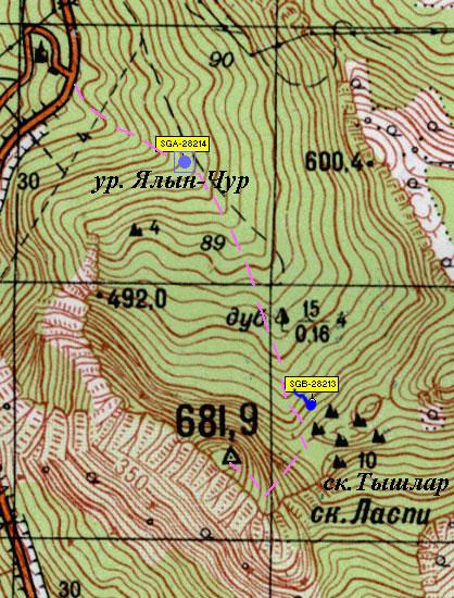 Карта с отметкой родника у скал Тышлар