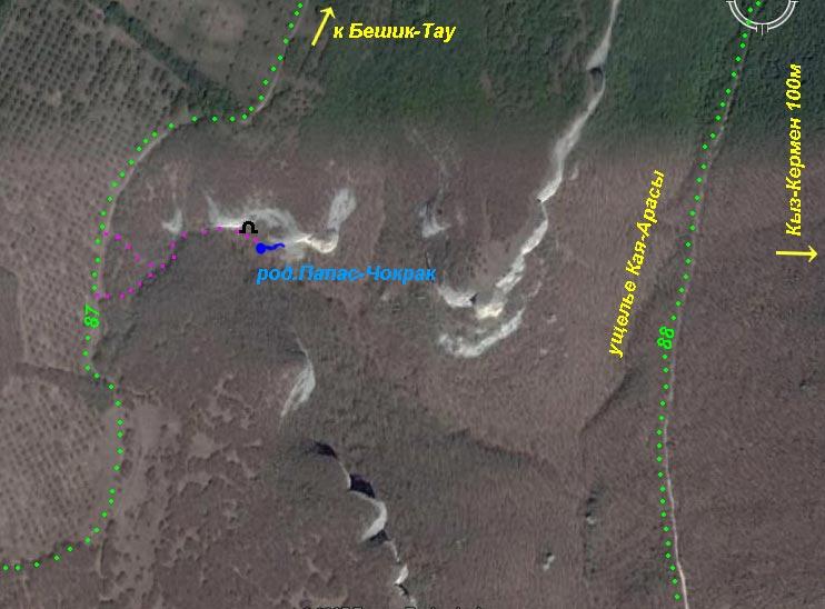 Фрагмент карты ущелья Кая-Арасы