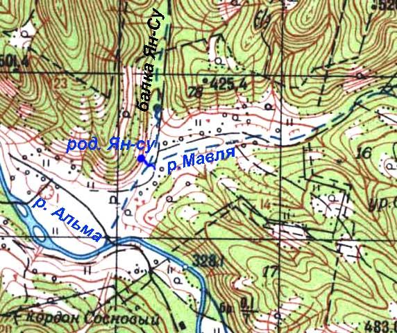 Фрагмент генштабовской карты, нанесен родник и добавлены надписи