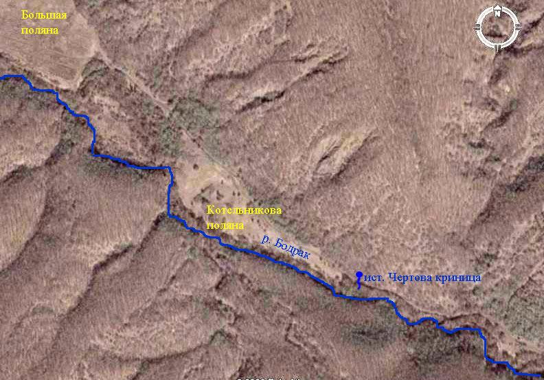 Фотография из космоса фрагмента русла реки Бодрак