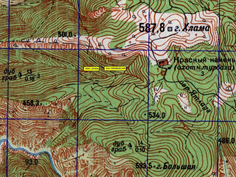 Фрагмен карты правого склона каньона реки Черной