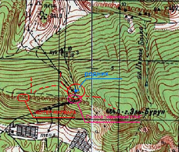 Карта района монастыря Челтер-Мармара
