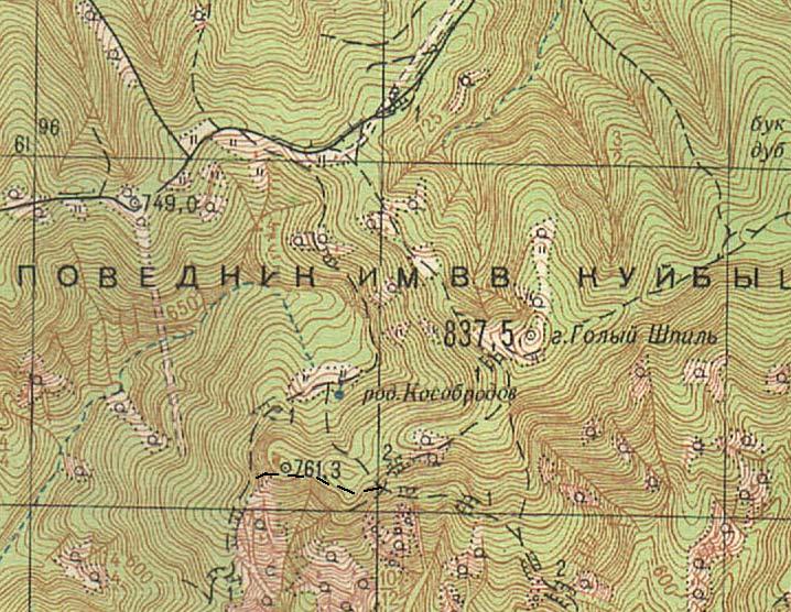 Фрагмент карты района горы Голый Шпиль