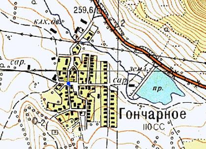 Карта села Гончарное