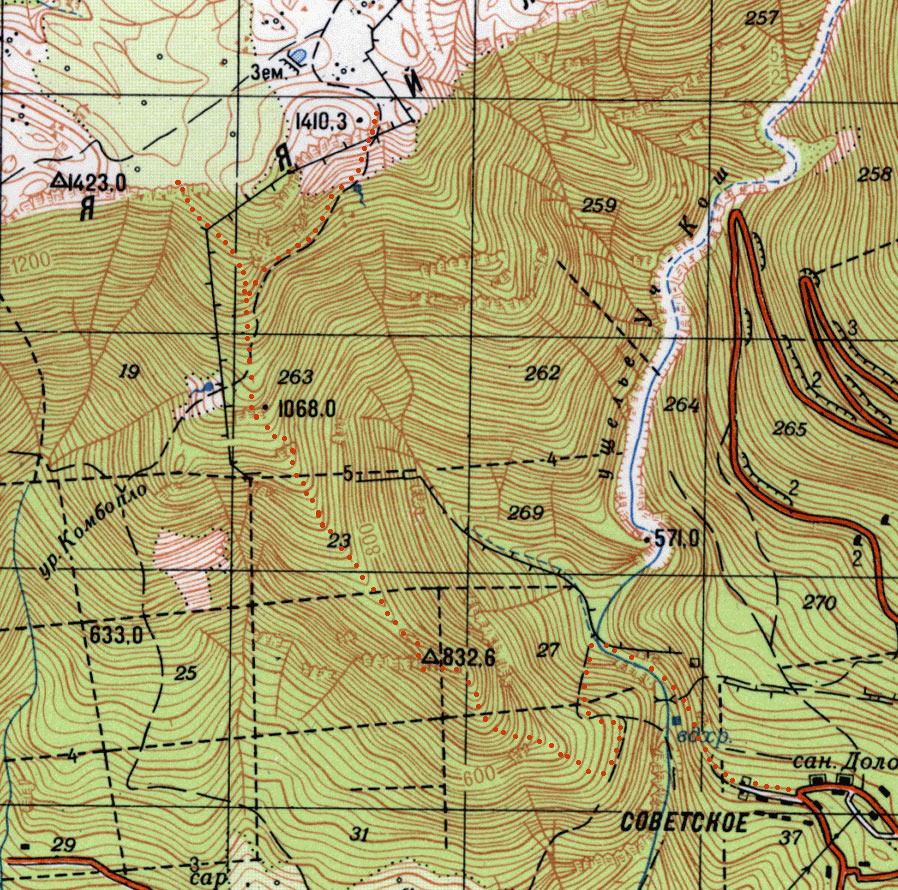 Фрагмент генштабовской карты с нанесенным машрутом