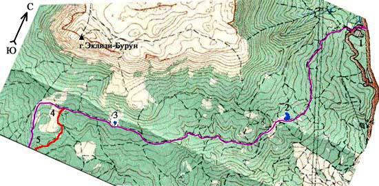 Схема участка Ангарский перевал - поляна Узун-Алан