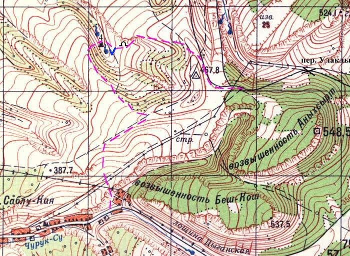 Карта маршрута Бахчисарай - Менгирная балка
