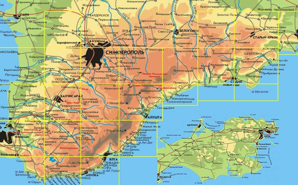 Карта горной части Крыма
