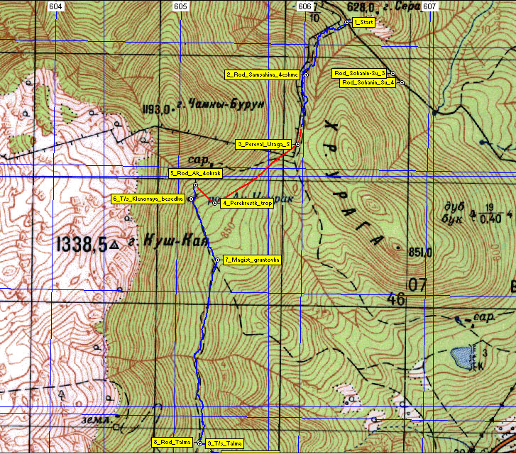 Карта первого участка маршрута гора Сераус - родник Талма