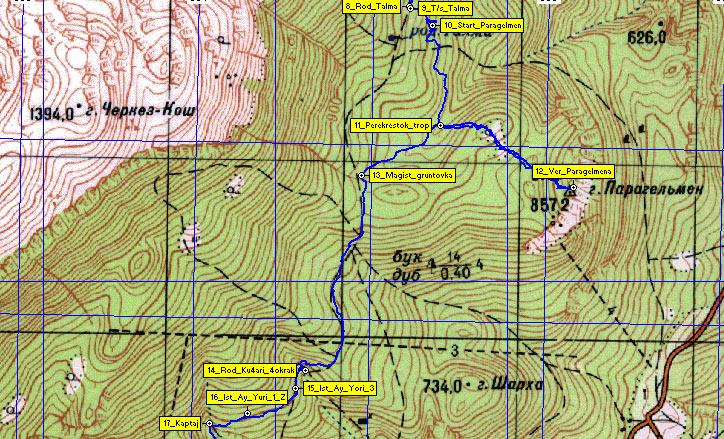 Карта второго участка маршрута родник Талма - Парагельмен -  Родники Хилван-Чокрак