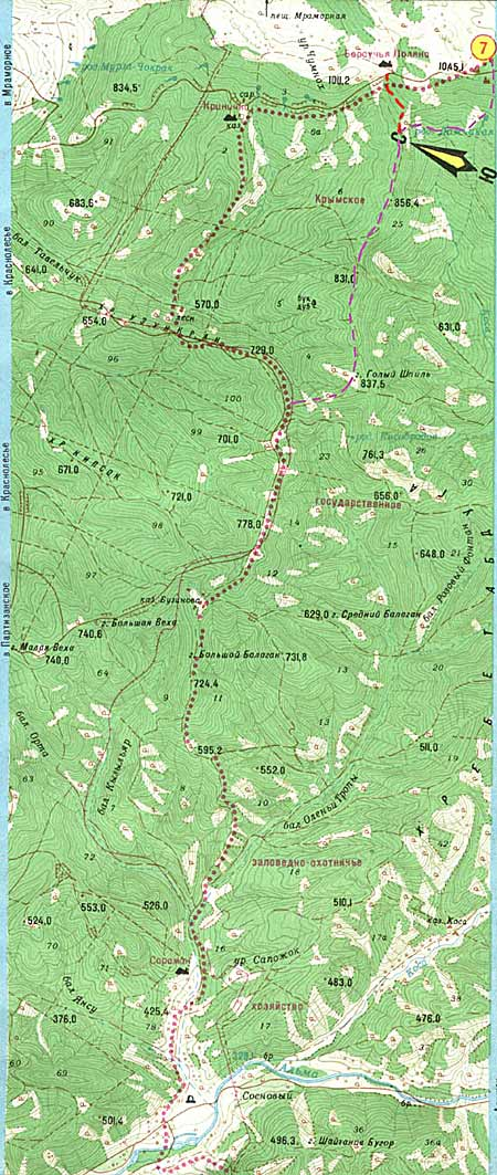 Карта с маршрутом.