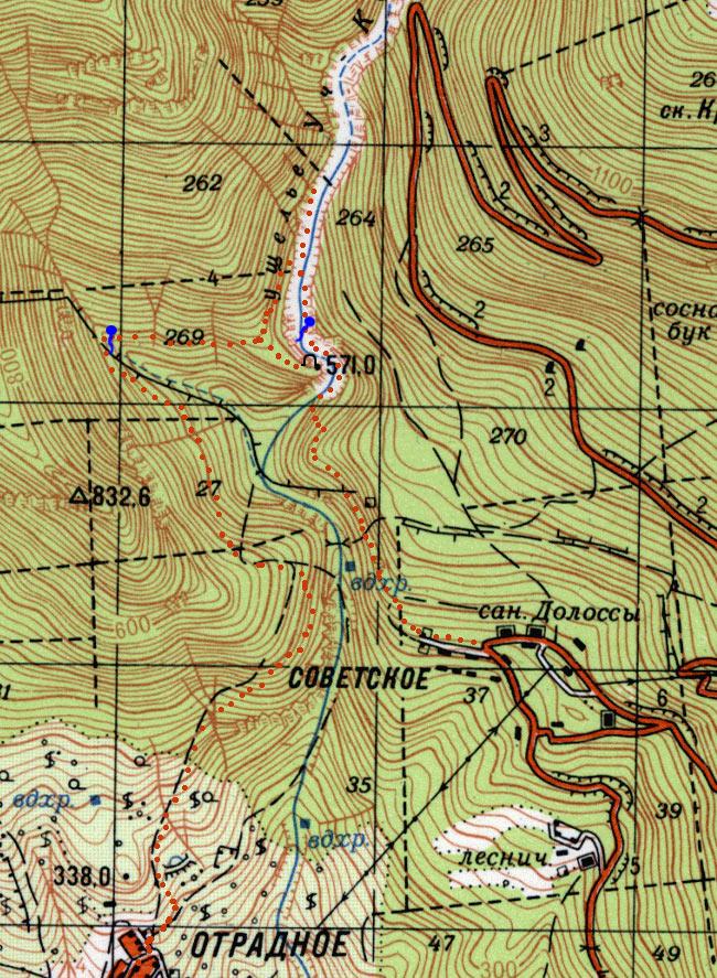 Фрагмент генштабовской карты ущелья Уч-Кош с нанесенным маршрутом
