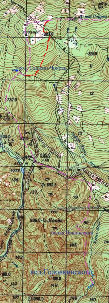 Схема участка - поляна Саурган - водопад Головкинского